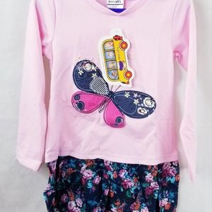 Novatx Girls Pink and Floral Dress 3-4Y